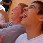 Teens laughing at the courtyard